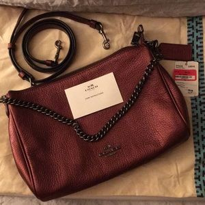 Burgundy Leather Crossbody Handbag